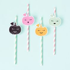 Printable pumpkin straw toppers