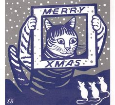 Cat Merry Christmas Illustration, Edward Bawden