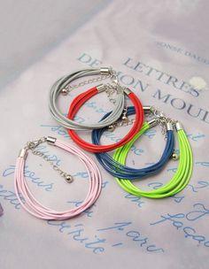 Fashion Korea Cotton Wax Cord Bracelets, with Brass Cord Ends