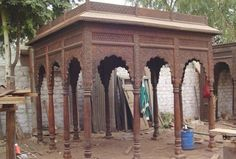 Image gallery of Indian style outdoor garden furniture from Worldcraft Industries. Outdoor Garden Furniture, Wooden Furniture, Home Decor Items, Gazebo, Industrial, Decor Ideas, Outdoor Structures, Gallery, Inspiration