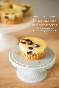 Lemon Blueberry Mini Cheesecakes from The Little Kitchen with party planning tips
