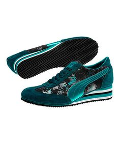 Take a look at this Deep Teal Caroline Stripe Metallic Wedge Sneaker by PUMA on #zulily today!
