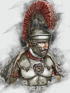 Roman Soldier Painting - Portrait Of A Roman Legionary - 49 by AM FineArtPrints Ancient Egyptian Art, Ancient Aliens, Ancient Rome, Ancient Greece, Roman History, European History, American History, Roman Armor, Christ Tattoo