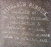 Elisabeth Alden Pabodie/Peabody  (1623-1717)  First white woman born in New England.  My aunt-in-law.