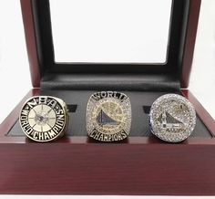 Free Shipping Golden State Warriors Round Basketball sports Replica Championship Ring Set size 6-15 with Wooden Box