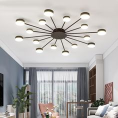 The stunning Drexel art deco ceiling light is the perfect blend of light and modern design.Made from sturdy metal and acrylic.Voltage: in and 16 lights. Round Ceiling Light, Modern Led Ceiling Lights, Ceiling Design Living Room, Ceiling Light Design, Living Room Lighting Ceiling, Living Room Light Fixtures, Art Deco, Luz Led, Design Moderne