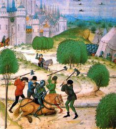 1357-58.Jacquerie.or Tuchins bataille. Крестьянская армия в бою. Миниат., ок.XVв.Возглавив вначале небольшую банду,Пьер де ла Брюйер начал с громкого преступления,ограбив обоз с имуществом,принадлеж.герцогу Беррийскому.Подобное начало вызвало взрыв энтузиазма среди тюшенов.Банду укрыл у себя Бернар Тиссьер,нотариус Каркассона,предоставив ее членам еду и кров в принадл.ему деревне. Взбешенный герцог приказал преследовать грабителей без пощады,после чего оставаться в Лангедоке они больше не…