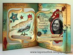 Layers of ink: Collaborative Accordion Flip Album, made for Karen Burniston with her Accordion Flip Album die, also using additional Sizzix dies, Ranger inks and Tim Holtz stamps.