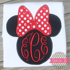 Traditional Red Minnie Mouse monogrammed shirt by stitchitboutique