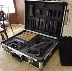 """The Storehouse 18"""" x 12-3/4"""" x 6"""" Aluminum Case at Harbor Freight was originally made to carry tools, but there are so many other great uses for it. For example, because the rugged case comes with foam inserts, it can be shaped to be a custom-fit gun case for transporting your gear to the range!"""