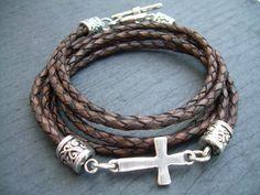 Braided Leather Bracelet, Antique Brown, Cross Bracelet, Cross, Religious Gift, Mens Bracelet, Womens Bracelet, Faith