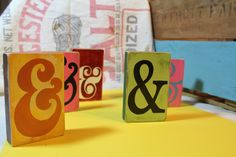 hand painted ampersand blocks for Team Valenzuela