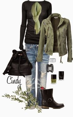 Black boots, old jeans, safari jacket, simple tee (Fall Top My Style)