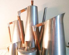Danish Mid Century Modern Pewter Teak Tea Coffee Pitcher Royal Holland 5 Piece Eames Era Atomic Serving Set
