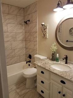 Bathroom, hall bathroom, upstairs bathrooms, beige tile bathroom, laundry i Bathroom Vanity Designs, Hall Bathroom, Bathroom Renos, Bathroom Interior, Modern Bathroom, Master Bathroom, Industrial Bathroom, Bathroom Ideas, Bathroom Lighting