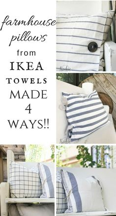 Make pillow covers from IKEA tea towels! Not only one way, but 4 different ways! #farmhousepillows #ikea