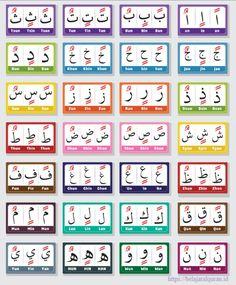 Arabic Alphabet Letters, Arabic Alphabet For Kids, Alphabet Writing, Alphabet Worksheets, Learn Quran, Learn Islam, Islamic Books For Kids, Learn Arabic Online, Flashcards For Kids