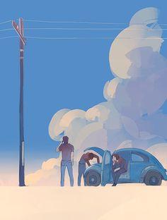 """Captain America: Flat Tire"" «proper art creds to megatruh on tumblr» [ http://megatruh.tumblr.com/post/144302951485/captain-america-flat-tire-and-sam-will-fix-it ]"
