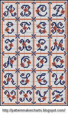 Free Easy Cross, Pattern Maker, PCStitch Charts + Free Historic Old Pattern Books: Sajou No 157 & 161 Cross Stitch Letter Patterns, Cross Stitch Letters, Cross Stitch Samplers, Cross Stitching, Cross Stitch Embroidery, Stitch Patterns, Crochet Alphabet, Embroidery Alphabet, Graph Crochet