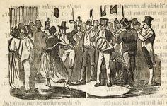 Xilografía en cabecera de una fiesta con muchas personas, hay una pareja bailando y una orquesta con un hombre tocando el tambor, otro la trompa y otro la flauta.