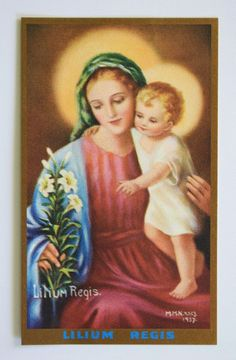 Vintage Holy Card Virgin Mary & Jesus (Lily of the King) by Mother Mary Nealis