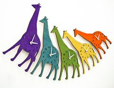 in one of these fun colors...Wood Giraffe Wall Clock at the Little Crown Interiors Nursery and Child Boutique