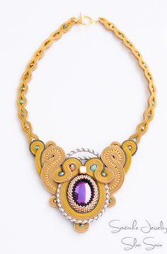Unique handmade soutache necklace