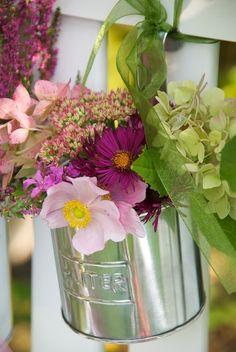 mixed floral arrangement in a tin bucket Flowers Nature, Beautiful Flowers, Beautiful Pictures, Vases, Garden Trees, Summer Garden, Dream Garden, Beautiful World, Floral Arrangements