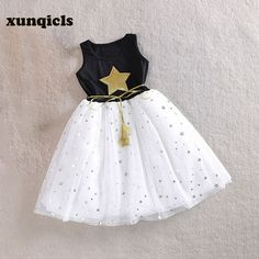 91164661540f xunqicls 3-10Y Baby Girls Sequins Dress Star Printed with Belt Sleeveless  Princess Party Kids Dresses