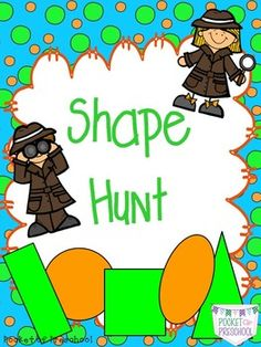 FREE Going on a Shape Hunt!  An active way to learn all about shapes for preschool, pre-k, and kindergarten.  Pocket of Preschool