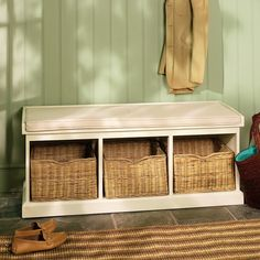A touch of country living with the Tetbury Hall Bench Ivory from The Cotswold Company. Free Delivery on all products! Hallway Bench, Hallway Furniture, Living Room Furniture, Home Furniture, Hallway Ideas, Kids Bedroom Storage, Hallway Storage, Hall Bench With Storage, Desk In Living Room