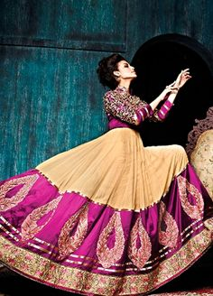 Chiku and Violet Colour #Georgette #Anarkali Style #Partywear #Suit.