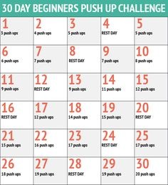30 Day Easy Push Up Challenge - 30 Day Fitness Challenges