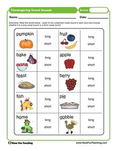 First Grade Activities, Teaching First Grade, Teaching Phonics, Phonics Activities, Teaching Resources, Thanksgiving Worksheets, Thanksgiving Words, Vowel Worksheets, Short Vowel Sounds