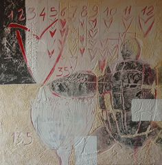 35° Parallelo. Tecnica mista su tavola, cm. 120x120