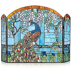 stained glass fireplace screens | Peacock Fireplace Screen Stained ...