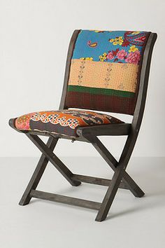 Terai Folding Chair, Paisley - eclectic - chairs - Anthropologie   SO MUCH FUN for extra seating