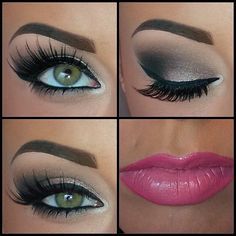 Love everything! The eye brows, eye shadow, eye liner, pink lips, and green eyes.