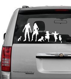 Zombie Family Decal with pets and a baby 3 by tawnyamdesigns, on Esty. Cant wait to order one lol