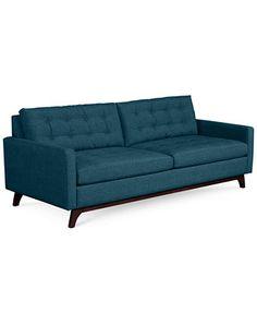 Karlie Fabric Sofa: Custom Colors - peacock or charcoal (great reviews)