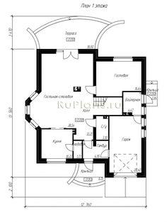 Rg5067 - Дом с мансардой, гаражом, эркером, террасой и балконами Floor Plans, Diagram, Floor Plan Drawing, House Floor Plans
