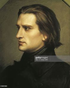 Ristratto of Franz Liszt to 29 years (Raiding, 1811-Bayreuth, 1886), Hungarian composer, pianist and conductor. Painting by Charles Laurent Marechal (1801-1887). Bayreuth, Richard-Wagner-Museum