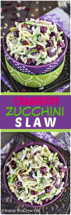 Cranberry Zucchini Slaw - nuts and berries give this easy salad a great sweet and salty flavor. This easy recipe is perfect for summer picnics! Cranberry Zucchini Slaw Spend With Pennies spendpennies RECIPES Side Dishes Cranberry Zucchini Slaw - n Veggie Dishes, Food Dishes, Side Dishes, Easy Salads, Easy Meals, Spiralizer Recipes, Yummy Food, Tasty, Delicious Recipes