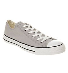 Converse All Star Ox Low Washed Grey Canvas Smu Shoes Trainers Office