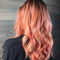 Peaches and pink. #pastelhair #coralhair #pinkhair #closeup