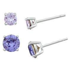 Women's Sterling Silver Round Lavender Crystal Stud and Round Tanzanite Crystal Stud Set (4mm/6mm)