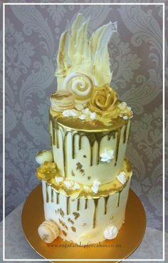 Ivory & Gold Drip Cake by Mel_SugarandSpiceCakes - http://cakesdecor.com/cakes/253152-ivory-gold-drip-cake