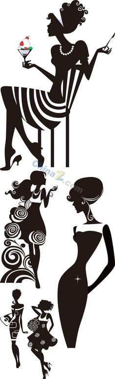 Elegant women's silhouettes vector material