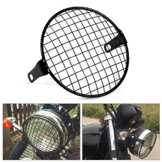 """6.3"""" Retro Motorcycle Grill Side Mount Headlight lamp Cover Mask Cafe Racer Motorcycle lamp protect Grill"""