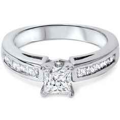 1.25CT Princess Cut Genuine Diamond Channel Set Cathedral Engagement Ring (4-9)